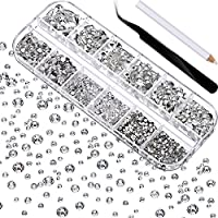 2000 Pieces Flat Back Gems Round Crystal Rhinestones 6 Sizes (1.5-6 mm) with Pick Up Tweezer and Rhinestones Picking Pen for Crafts Nail Face Art Clothes Shoes Bags DIY