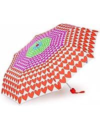 Paraguas Agatha Ruiz de la Prada blanco con corazones de colores, sistema plegable y antiviento. Fuerte, ligero y con funda para su protección, Un paraguas de mujer plegable muy Agatizado!