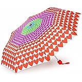 Paraguas Agatha Ruiz de la Prada blanco con corazones de colores, sistema plegable y antiviento. Fuerte, ligero y con funda para su protección. Un paraguas femenino plegable muy Agatizado!