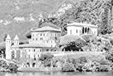 House ON Lake Como - Art Silk Fabric Canvas Rolled Wall