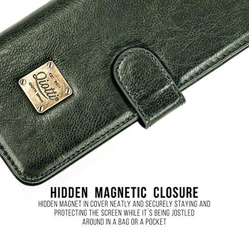 HUAWEI P10 LITE Étui Portefeuille, QIOTTI Folio Wallet Case avec[ RFID Blocking Protection ] [ Fonction Présentoir ] [ 3 Card Slots ] [ Magnetic Hidden Closure ] [ Faux cuir éco de qualité supérieure  VERT