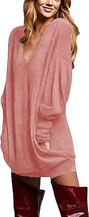 ZANZEA Donna Maglia Manica Lunga Taglie Forti Scollo V Sexy Vestito Maglione Camicetta Pullover Lungo
