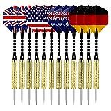 Skitic Dartpfeile, 12 Stück Darts Pfeile Set mit National Flagge Flights Edelstahl Stahl Nadel Spitze Dart Beschichtete Metallfässer Darts, 18 Gramm