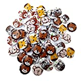 Sharplace 50 Stück Rund Tier Muster Holzknöpfe Kinderknöpfe 2 Löcher