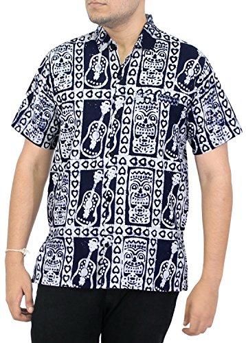 La-Leela-Shirt-Camisa-Hawaiana-Hombre-XS-5XL-Manga-Corta-Delante-de-Bolsillo-Impresin-Hawaiana-Casual-Regular-Fit-Camisa-de-Hawaii-Azul-Marino-BA670-XL