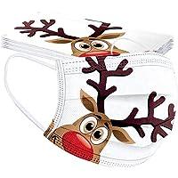 Zilosconcy 10 Stück Erwachsene Mundschutz Einweg 3-lagig mit Weihnachtsmotiv Bunt Mund und Nasenschutz Lustig Print…