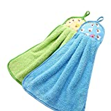 #7: Right Products Candy Colors Soft Coral Velvet Towel Kitchen Bathroom Hanging Hand Towels,Pack of 2