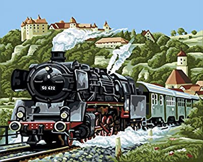[ New Release ] Diy Oil Painting by Numbers, Paint by Number Kits - Age-old Steam Locomotive 16*20 inches - Digital Oil Painting Canvas Wall Art Artwork Landscape Paintings for Home Living Room Office Christmas Decor Decorations Gifts - Diy Paint by Numbe