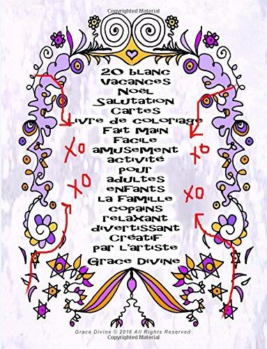 20 blanc Vacances Noël Salutation Cartes livre de coloriage Fait