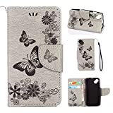 xifanzi Coque pour Wiko Sunny PU Cuir Flip Folio Etui Housse Leather Pochette Wallet Papillon Fleurs Motif Style Pressée Design Mode Bookstyle Case Cas Portable Holster Back Cover,Gris