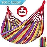 OUTLETISSIMO® Amaca Colorata in Cotone 300X160 CM con Pratico Sacco da Giardino Tenda Camping
