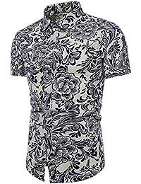 MOGU Camisa para hombre Slim Fit Floral Camisa de manga corta con botones