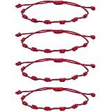 Possidonia Pulsera Roja 7 Nudos   Amuleto Hilo Rojo   Pulsera de la Suerte y Protección   Unisex, Ajustable  Buena Suerte   P