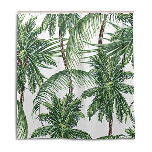 jstel Decor Duschvorhang Palmen Tropische Blätter Muster Print 100% Polyester Stoff 167,6x 182,9cm für Home Badezimmer Deko Dusche Bad Vorhänge mit Kunststoff Haken (Kunststoff Vorhang Dusche)