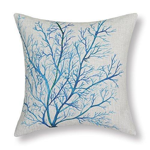 Euphoria Startseite Kissen Shell Mischung Aquarelle Malerei Drucken Koralle Bäume 45cm X 45cm Blau Teal