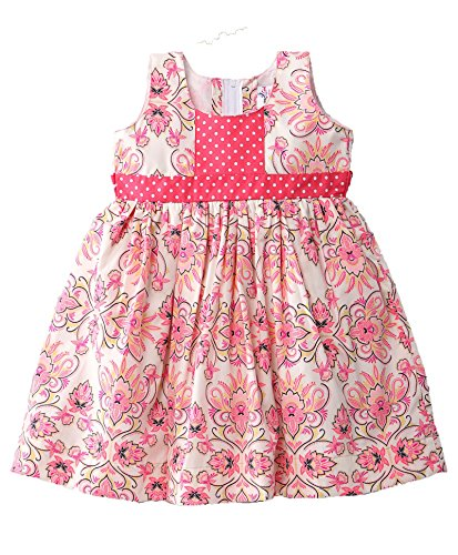 Mom's Girl Girls Dresses Pink Floral Print Girls Frocks With Floral Print, Girls Frocks, Party wear dresses, New Born Dresses (6-12 Months)