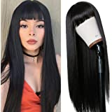 Vvan Long Straight Remy Hair Wigs Natural Black Heat Resistant Fiber Hair Full Machine Wig with Bangs Cosplay Party Wig For F