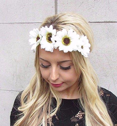 Starcrossed Boutique weiß creme Daisy Sonnenblume Haarband Festival Stirnband Krone Girlande 3377 Daisy Und Sonnenblume