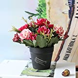 GSYLOL 1 Satz Künstliche Blume Carnation Gefälschte Blumenerde Bonsai Für Hochzeit Home Party Dekorative 4 Farben, Rose Red
