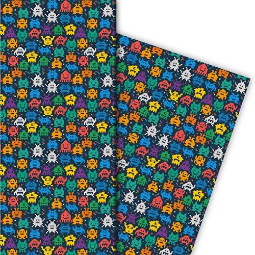Retro Pixel Monster Geschenkpapier Set (4 Bogen)/Dekorpapier nicht nur für Computer Spiel Nerds - für tolle Geschenkverpackung und Überraschungen basteln 32 x 48cm