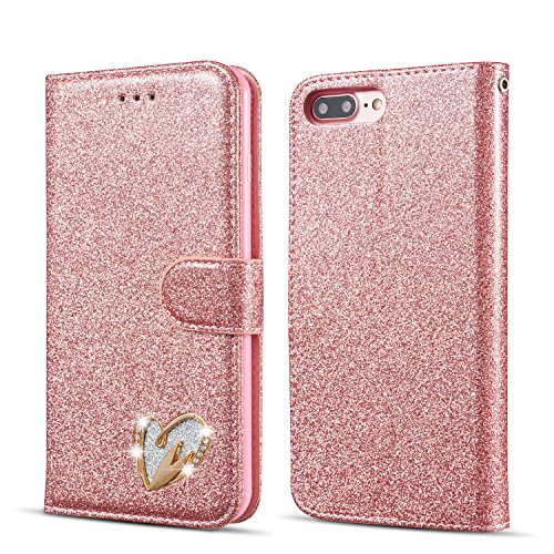 QLTYPRI Glitter Flip Case for iPhone 5 5S SE, Premium PU Leather TPU Cover with Cute Inlaid Loving Heart Diamond Design [Wrist Strap] [Magnetic Closure] [Card Slot] Stand Function Shockproof Bling Smooth Slim Wallet Case for iPhone 5/5S/SE - Rose Gold
