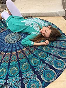 Rawyal-Indian Mandala Round Roundie Beach Throw Tapestry Hippy Boho Gypsy Cotton Tablecloth Beach Towel , Round Yoga Mat by Rawyal