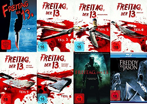 Freitag der 13. Collection Teil 1 2 5 6 7 8 + Remake + Freddy vs. Jason 8 DVD + Blu-Ray Edition (Filme Halloween 5)