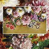LONGYUCHEN Kundengebundene Jede Mögliche Größe 3D Wand Silk Wandbild Tapete Europäischen Stil Retro Handgemalte Blumen Blumen Zimmer Sofa Schlafzimmer Dekoration,180Cm(H)×280Cm(W)