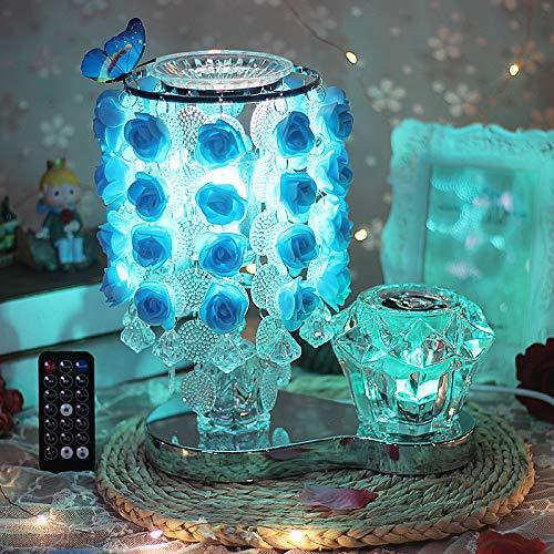 qiyanAltavoz Bluetooth Dormitorio Lámpara de Noche Creativo Cristal Cálido Romántico Regalo de Rosa Salón de Bodas Europeo Lámpara de Mesa de Boda A1