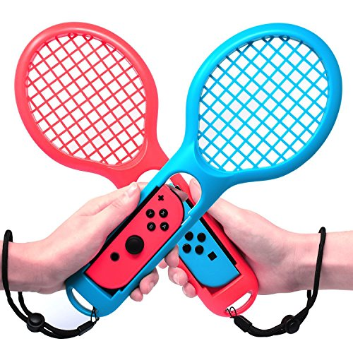 Price comparison product image Jamswall Tennis Racket for Nintendo Switch Joy-Con Controllers for Mario Tennis Aces Game 2 Pack Switch Joy-Con Grips