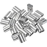 25 Stks Professionele Touw Klemmen 8mm Krimpklemmen Gemaakt van Aluminium, Druk Klem, Aluminium Crimp Loop Touw Klemmen Expan