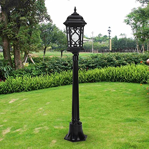 Modeen Traditionellen viktorianischen Stil 2.1M Schwarz 1-Licht Weg Ip55 Wasserdichte Outdoor Garten Lampe Post Light Glass Spalte Lampe LED-Licht E27 Dekoration Straßenlaterne Lawn Villa Lampe