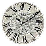 Fashionpillow -1211568- Wanduhr Weltkarte / Globus, 28 cm, rund, Quarz Uhrwerk, batteriebetrieben