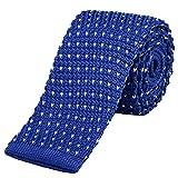 DonDon schmale Strickkrawatte 5 cm - blau mit weißen Punkten