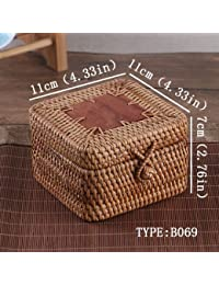 Rattan Storage Box With Lid Square And Round Hand-woven Jewelry Box Organizer Wooden Bins For Sundries Puerh Tea...