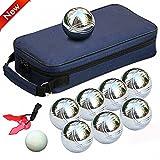 Popamazing 8acero francés bolas de petanca bolas jardín juego Set con bolsa de bolas de...