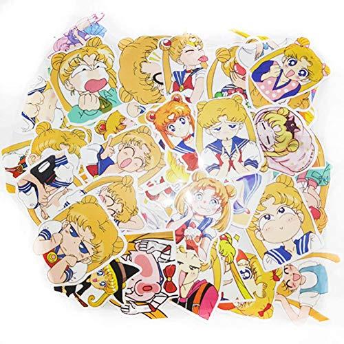 Yovvin Sailor Moon Auto Aufkleber Vinyl Aufkleber Wandaufkleber Wandtattoo Autoaufkleber Autotattoo für Handy, MacBook, Laptop, Auto, Boote, Windows und Mehr (40 Stück)