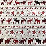 Meterware – 100% Baumwolle Stoff–Weihnachten, nordisches Design, rot oder braun, 135cm breit rot