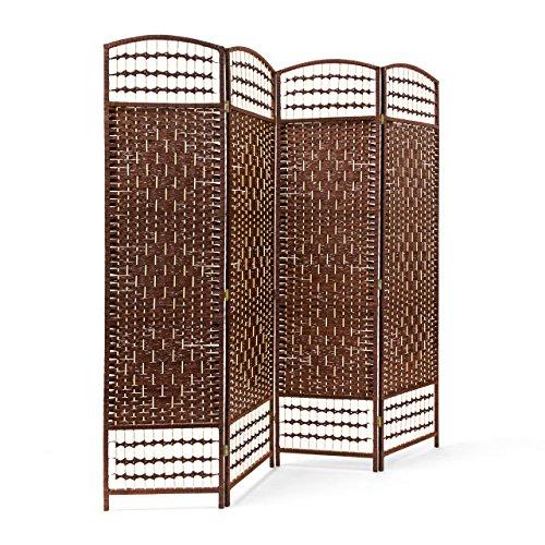 *Relaxdays Paravent H x B x T: ca. 179 x 180 x 2 cm faltbarer Raumteiler und Spanische Wand mit Streben aus Bambus als Sichtschutz bestehend aus 4 Elementen als blickdichter Raumtrenner aus Holz, braun*