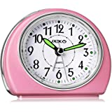 Alarm Clocks for Bedrooms, MEKO Small Battery Powered Travel Alarm Clock with Snooze and Nightlight, Silent No Ticking Bedsid