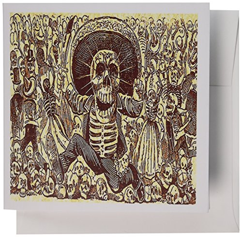 3dRose Gc_6035_2 Grußkarten, Vintage-Halloween-Skelett-Party, 12 Stück