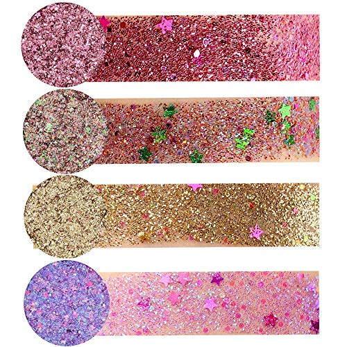 Dtuta 4 Farben Diamant Perle, Metall Pailletten Beauty Lidschatten-Palette Deluxe Make-Up...