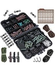 Goture Assortiment d'accessoires pour pêche à la carpe Boîte avec crochets, tubes en caoutchouc, émerillons, perles, manches, bouchons