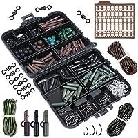 Goture Assortiment d'accessoires pour pêche à la carpe Boîte avec hameçons, tubes en caoutchouc, émerillons, perles, manches, bouchons