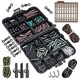 Goture Assortiment d'accessoires pour pêche à la carpe Boîte avec crochets, tubes en caoutchouc, émerillons, perles, manches, bouchons, 187 Piece, Hooks Size 2 #