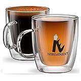 مجموعة من كوبين (2) زجاجيين معزولين بطبقة مزدوجة للقهوة من الاسبرسو واللاتيه والكابتشينو، كوبين من الزجاج الحراري من مجموعة م