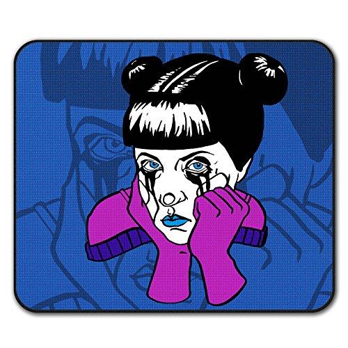Traurig Mädchen Cool Seltsam Komisch Mouse Mat Pad, Kunst Rutschfeste Unterlage - Glatte Oberfläche, verbessertes Tracking, Gummibasis von Wellcoda