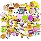 Gosear 20 Pcs Kawaii Mini Matschig Weich Simuliert Food Panda Brot Kuchen Brötchen Anhänger Schlüsselanhänger Schlüsselanhänger Handy Kette Riemen Ornamente Zubehör Random-Stil
