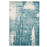 CC Teppich Modern Designer Wohnzimmer Impression Vintage Pastel-Blau Grau, Größe in cm:120 x 170 cm, Farbe:Blau