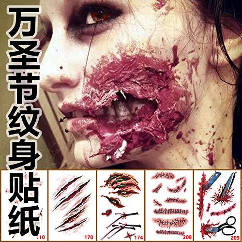 dduuoo Dduoo Halloween-Aufkleber, wasserdicht, Tattoo-Aufkleber, Video-Make-up-Requisiten, Horror-Vampir-Plasma, männliche und weibliche Simulation, Narbenaufkleber, Aufkleber